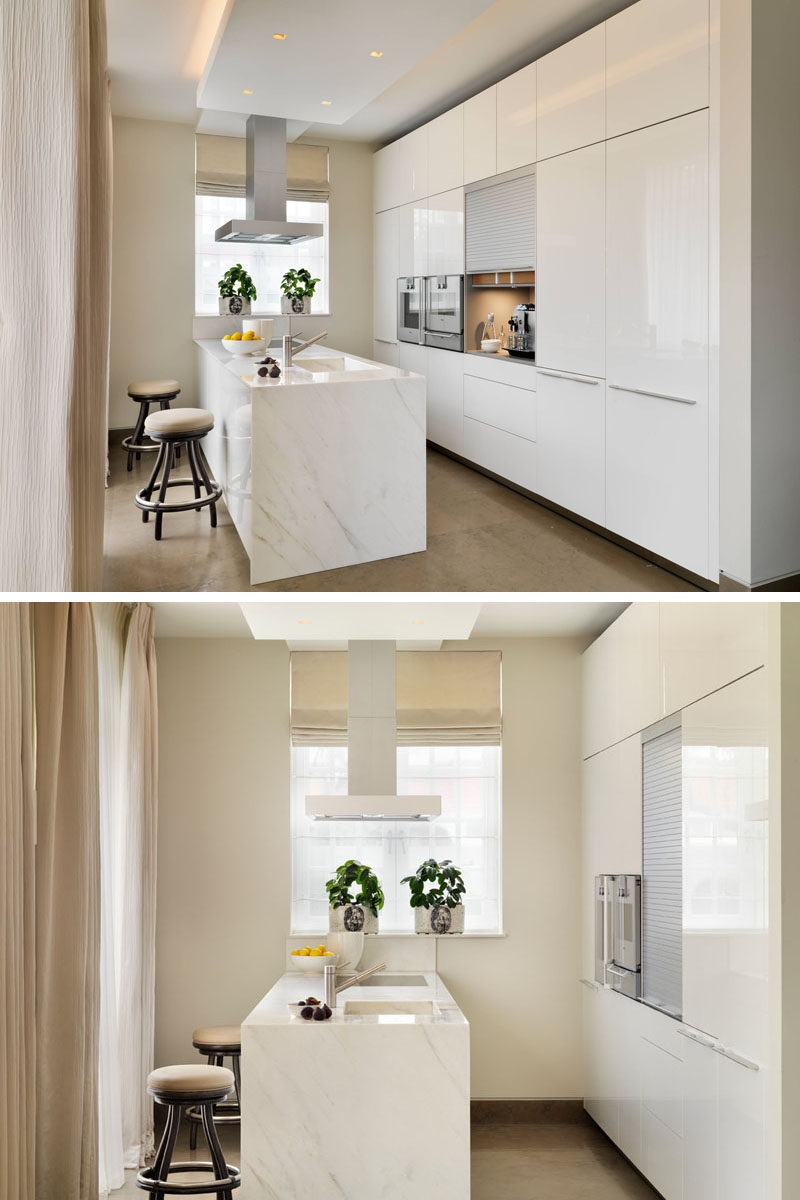 Kitchen Design Idea - Store Your Kitchen Appliances In A Dedicated Appliance Garage // The coffee machine and the accessories that go with it fit perfectly inside this well lit appliance garage with rolling door.