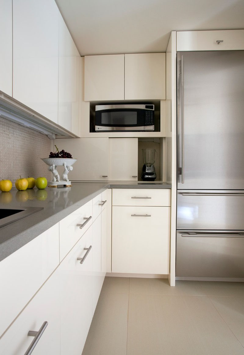 Kitchen Design Idea - Store Your Kitchen Appliances In A Dedicated Appliance Garage // The sliding doors of this appliance garage open to reveal a spacious hiding spot just the right size for the most frequently used appliances.