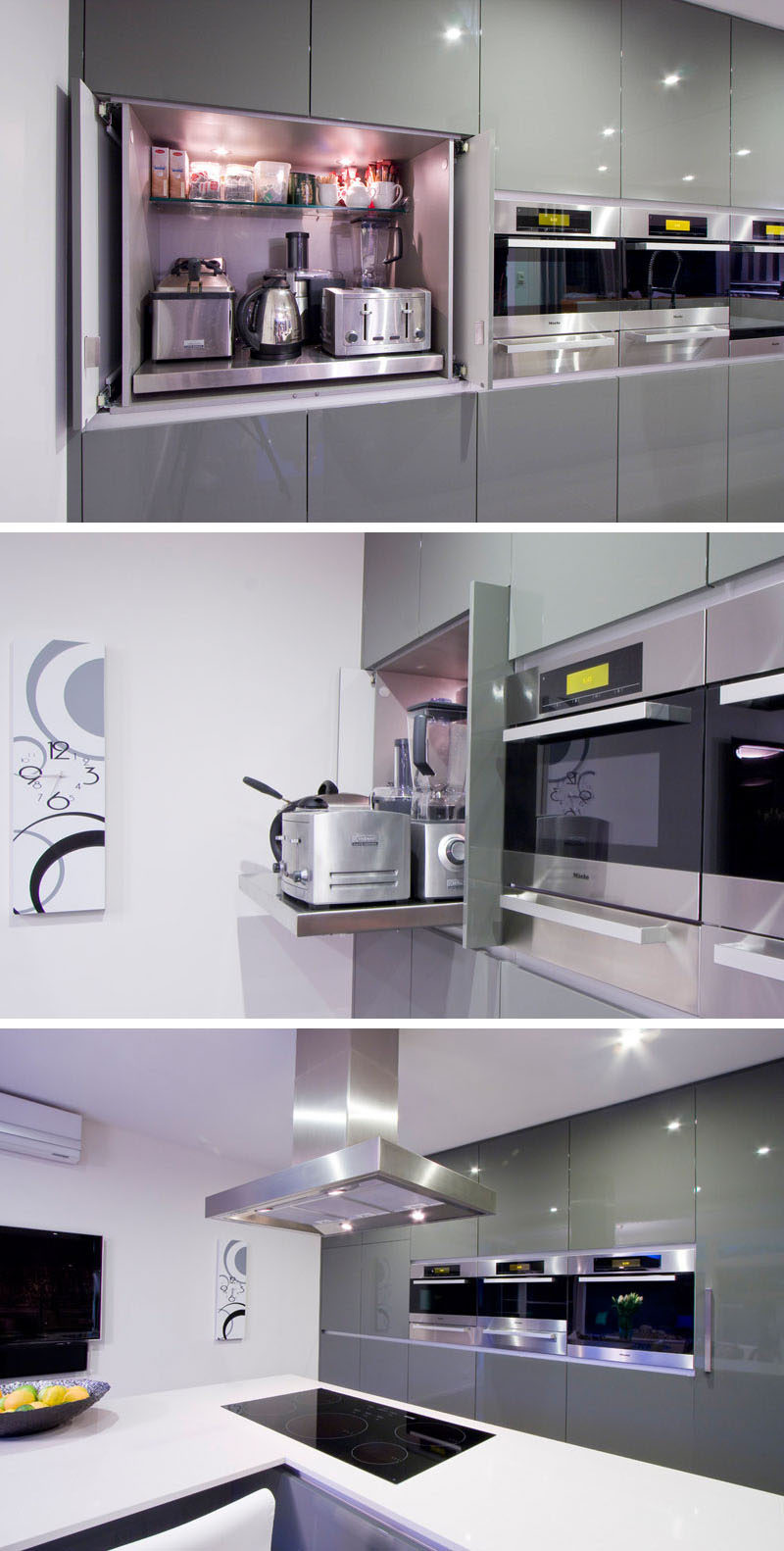 Kitchen Design Idea - Store Your Kitchen Appliances In A Dedicated Appliance Garage // The main shelf of this appliance garage pulls out to make it easier to access the appliances stored at the back.