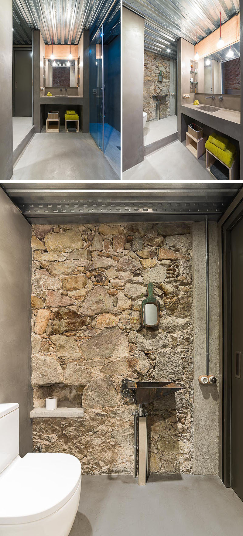 In this renovated bathroom,, the vanity area and shower are stepped down from the toilet, and a metal ceiling helps to keep things bright. While the original stone wall has become a feature wall.