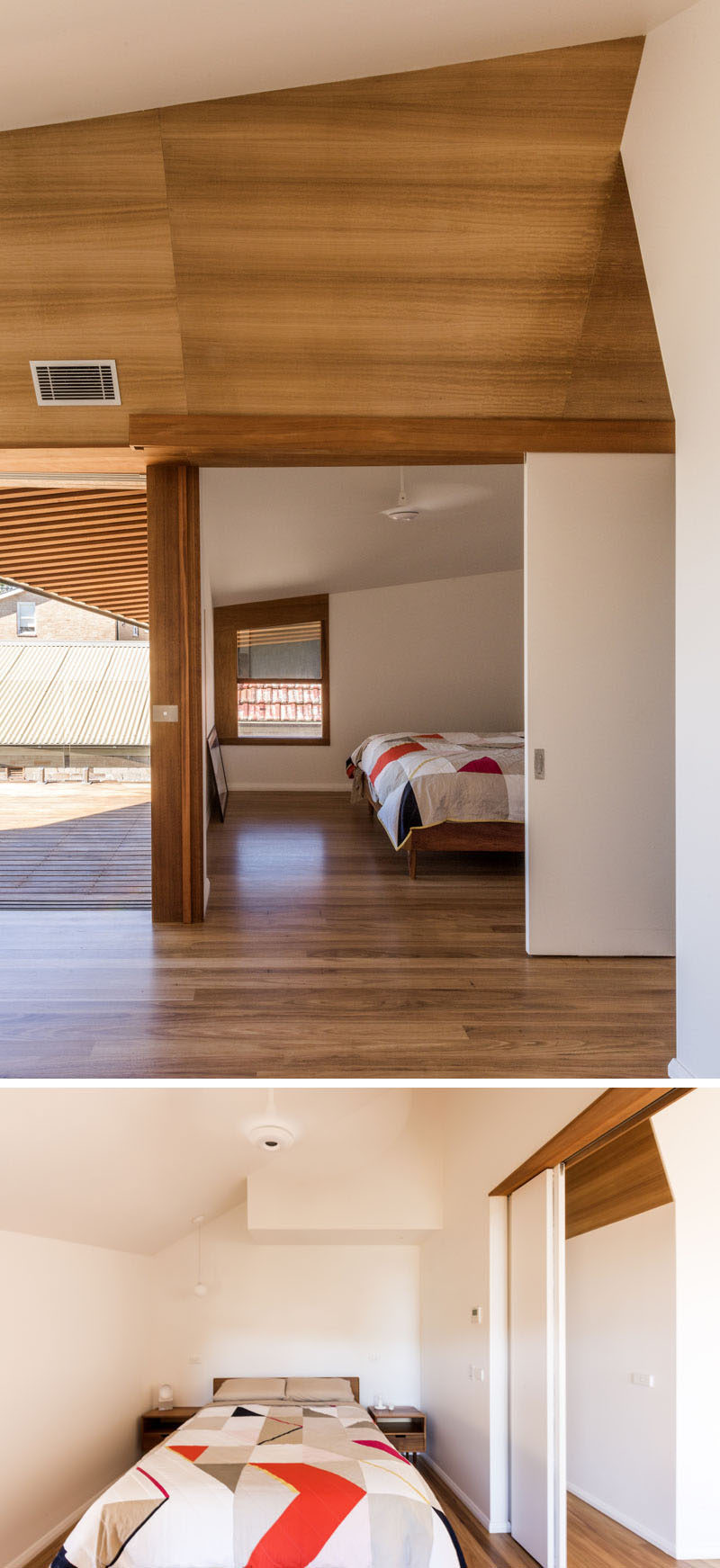 This bedroom has a large sliding door.