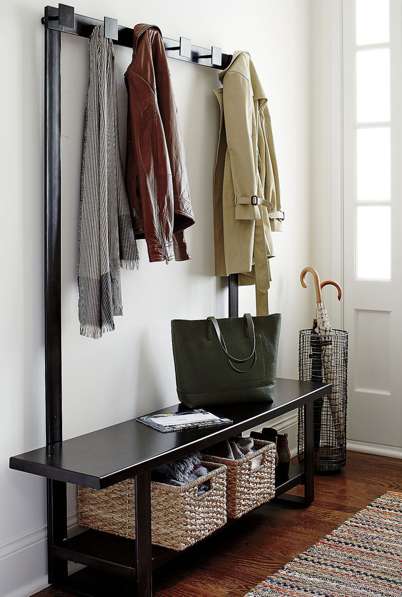 Entryway Design Ideas - 3 Different Styles Of Entryway Benches // This two-in-one bench coat rack duo creates the perfect entryway with lots of storage, a convenient place to sit, and just the right number of coat hangers.