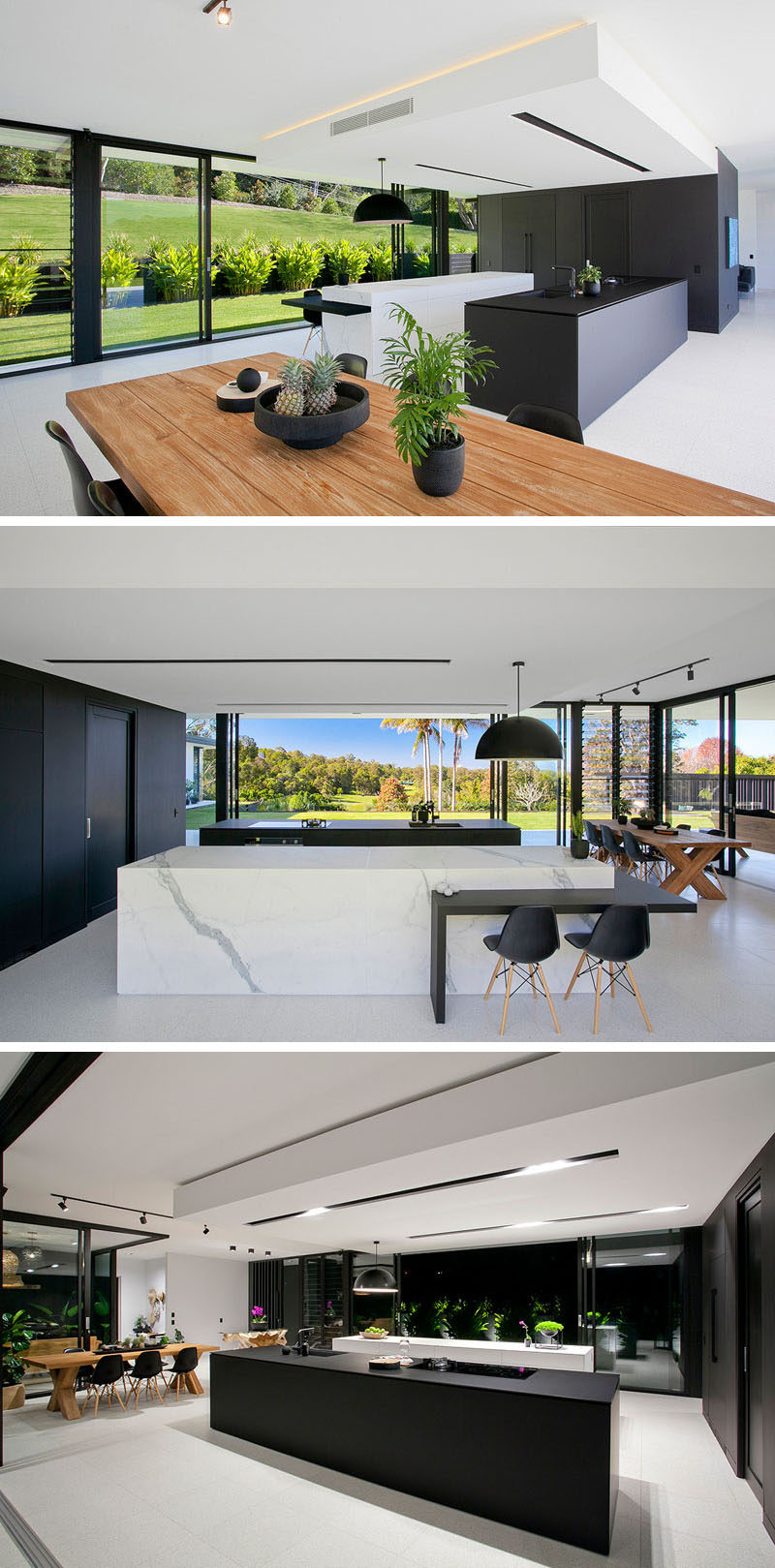 In this minimalist kitchen, fine matt black laminate and marble-look porcelain used in the design of the islands , and a large black box hides the essentials of the kitchen. Inside there's plenty of storage, an additional butlers sink and extra prep space.