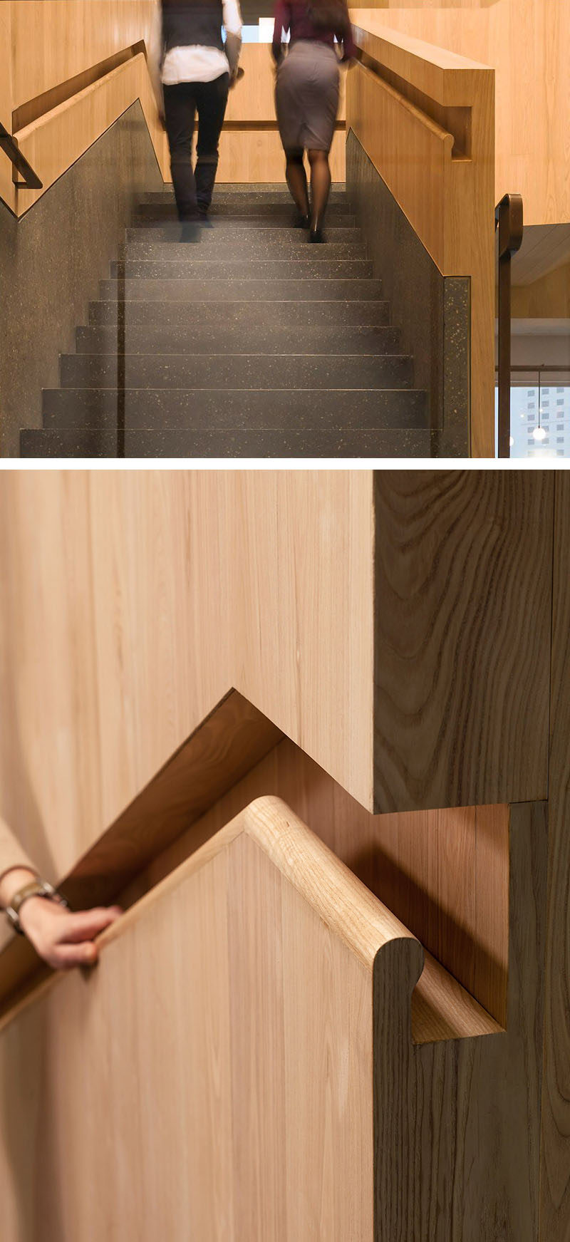 Stair Design Idea - 9 Examples Of Built-In Handrails // This office in Hong Kong transitioned from brass handrails into built-in wooden handrails.