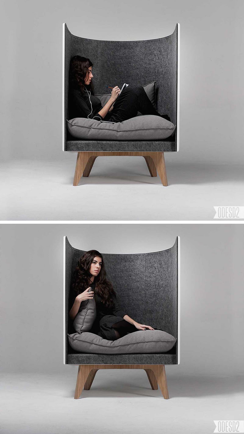 12 Comfy Chairs Perfect For Relaxing In // This chair is perfect for relaxing in and tuning out the world. The felt padding helps keep your environment quiet and the big fluffy cushions create a comfy spot to sit.
