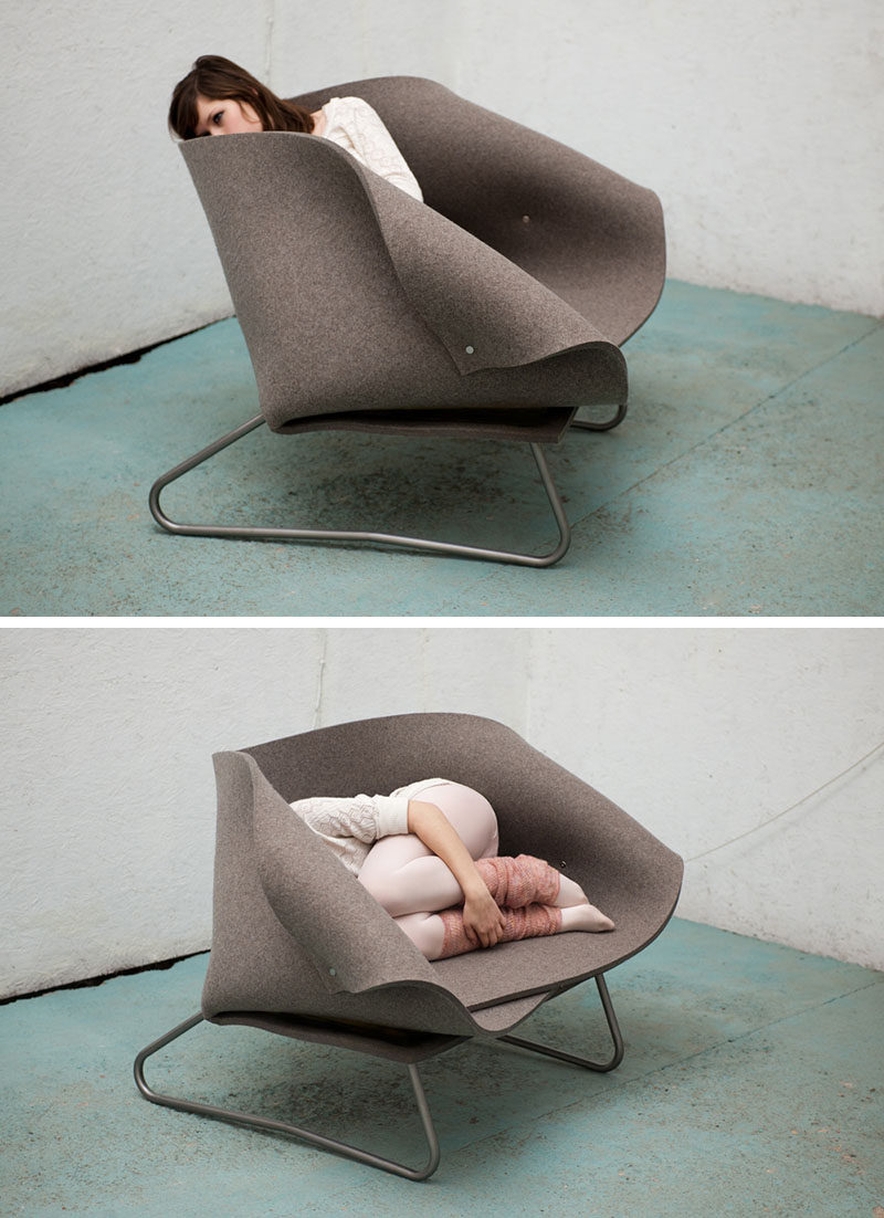 12 Comfy Chairs Perfect For Relaxing In // Folds of felt surround you and move to perfectly fit your body no matter how you configure yourself in the chair.