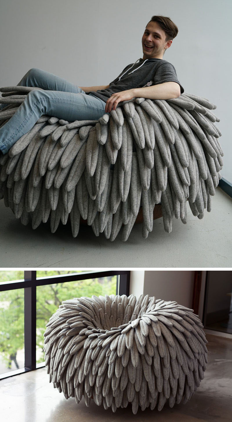 12 Comfy Chairs Perfect For Relaxing In // Feathery fabric falls over the sides of this chair that features a rounded base, turning it into a cozy rocking chair and mimicking the look of a birds nest.