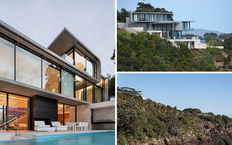Этот Бетонный Дом Расположен Над Скалистом Утесе С Видом На Океан