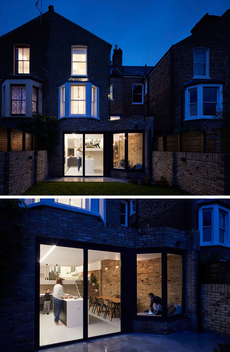 This British home has been renovated to include a modern split-level interior.