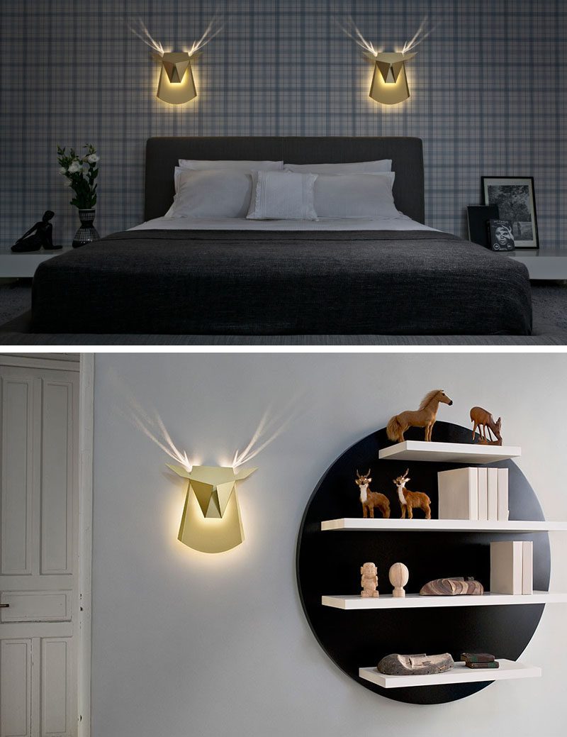 Antlers appear when you turn on this modern deer head wall lamp.