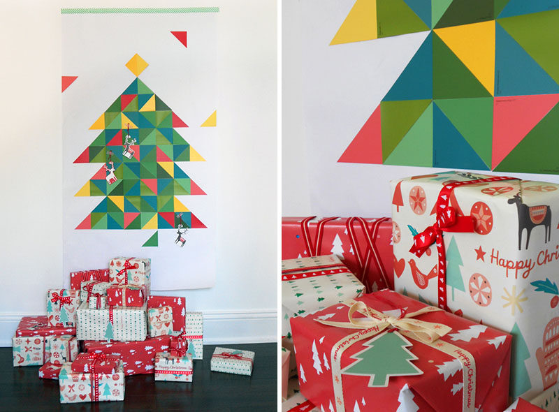 Christmas Decor Ideas - 14 DIY Alternative Modern Christmas Trees // This geometric paint chip Christmas tree is a fun way to make a customized tree that perfectly matches the rest of your interior.