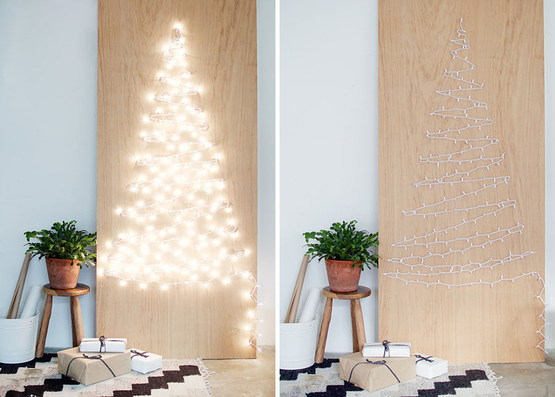 Christmas Decor Ideas - 14 DIY Alternative Modern Christmas Trees // This Christmas tree alternative might be simple but it certainly makes a statement when the strings of lights are plugged in and the