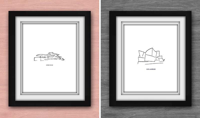 40 Awesome Gift Ideas For Architects And Interior Designers // Minimal art prints of famous buildings.