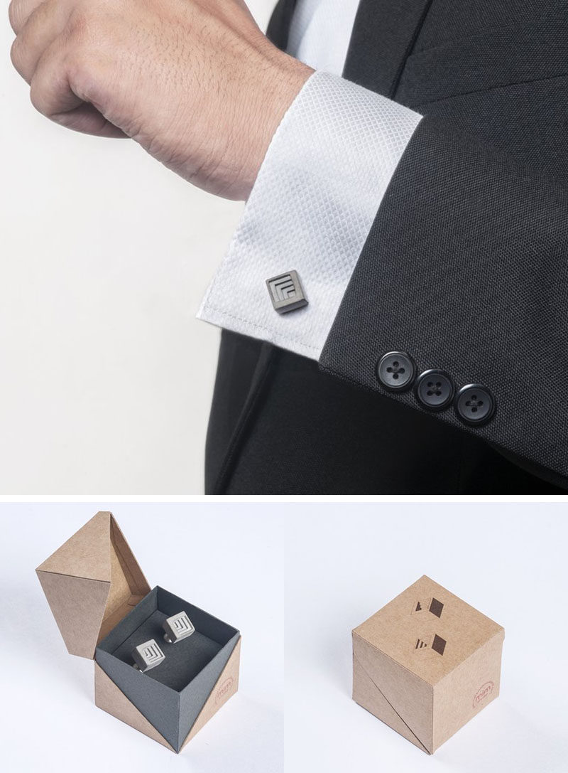 40 Awesome Gift Ideas For Architects And Interior Designers // Concrete cuff links show that your architect has style when it comes to both fashion and design.