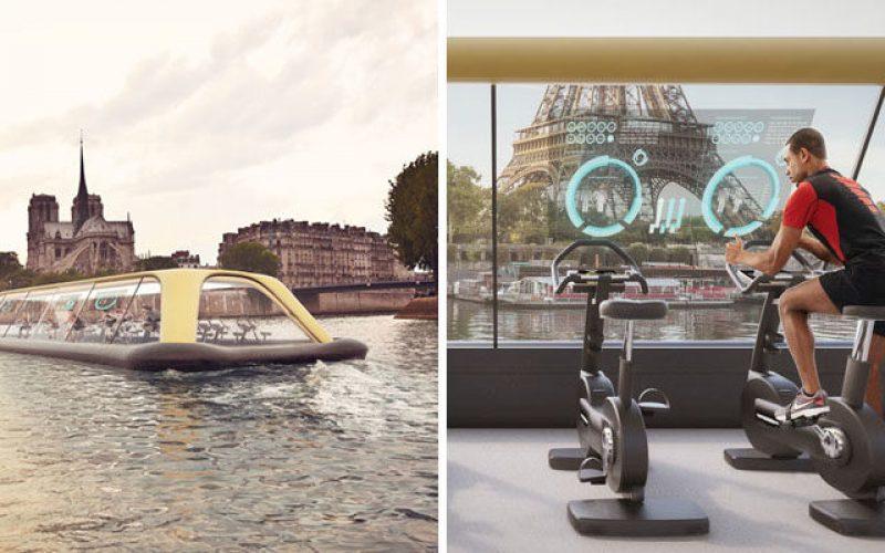 Фитнес-лодка с питанием от человеческой энергии был предложен на реке сена в Париже