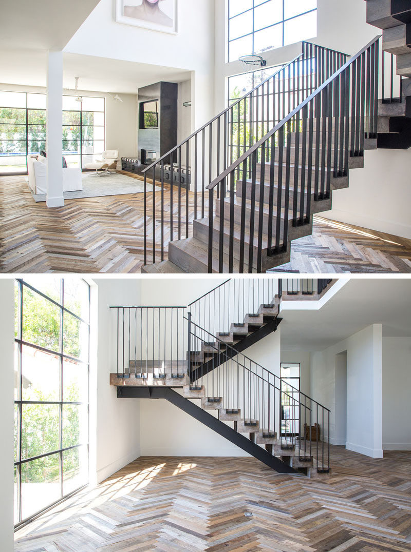 16 Inspirational Pictures Of Herringbone Floors // The different types of wood used within this herringbone floor make the pattern even more unique.