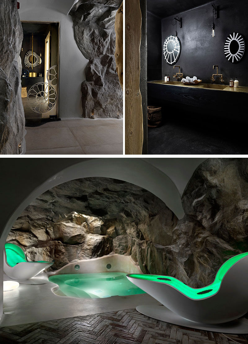 At this hotel spa, walls of stone help to create a unique and relaxing experience.
