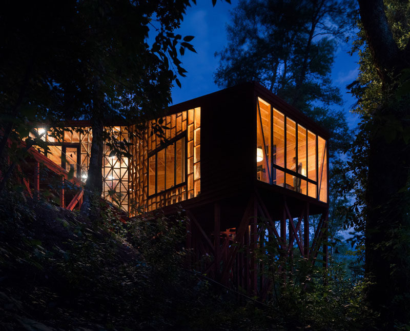 At night, this house lights up like a lantern when the lights are turned on inside.