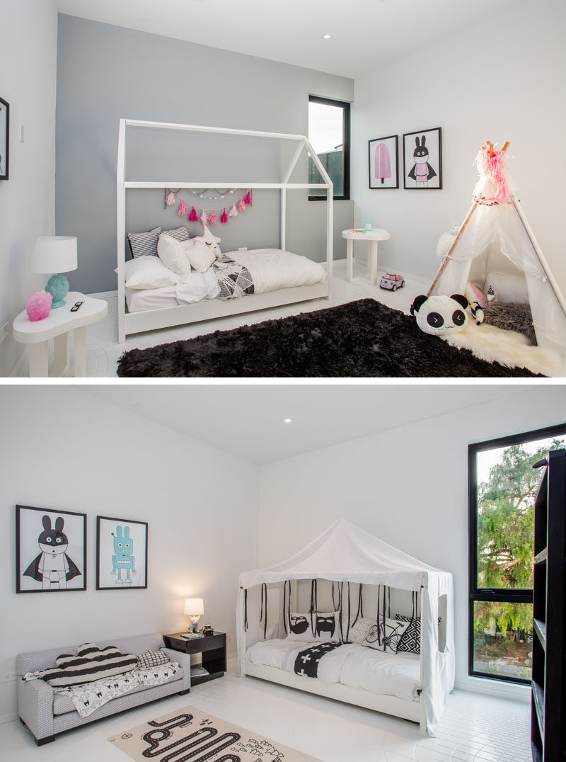 This modern home has a couple of whimsical kids bedrooms.