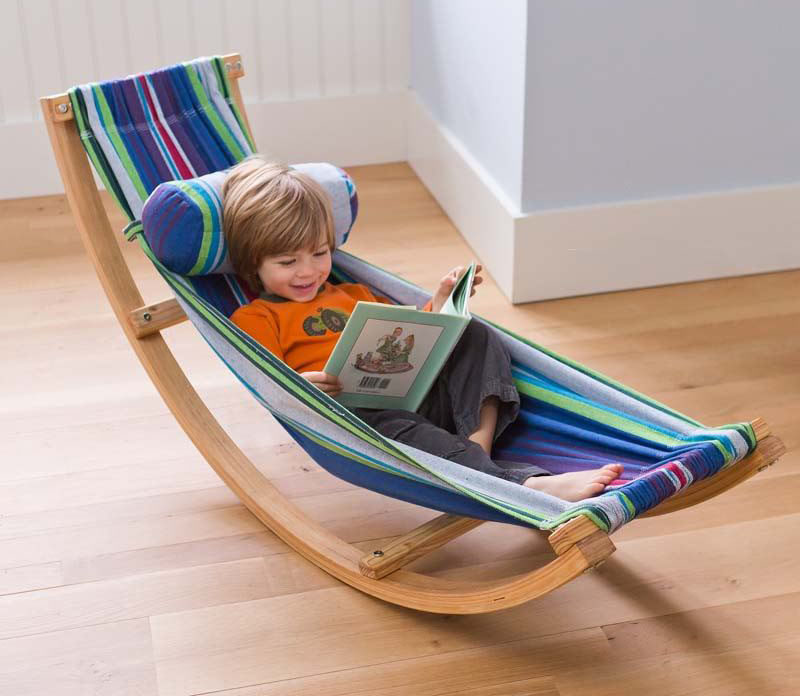 Gift Guide - 30+ Gift Ideas For The Modern Kid In Your Life // Encourage kids to pick up a book and hang out for a while on their own with a comfy rocking hammock that's just their size.