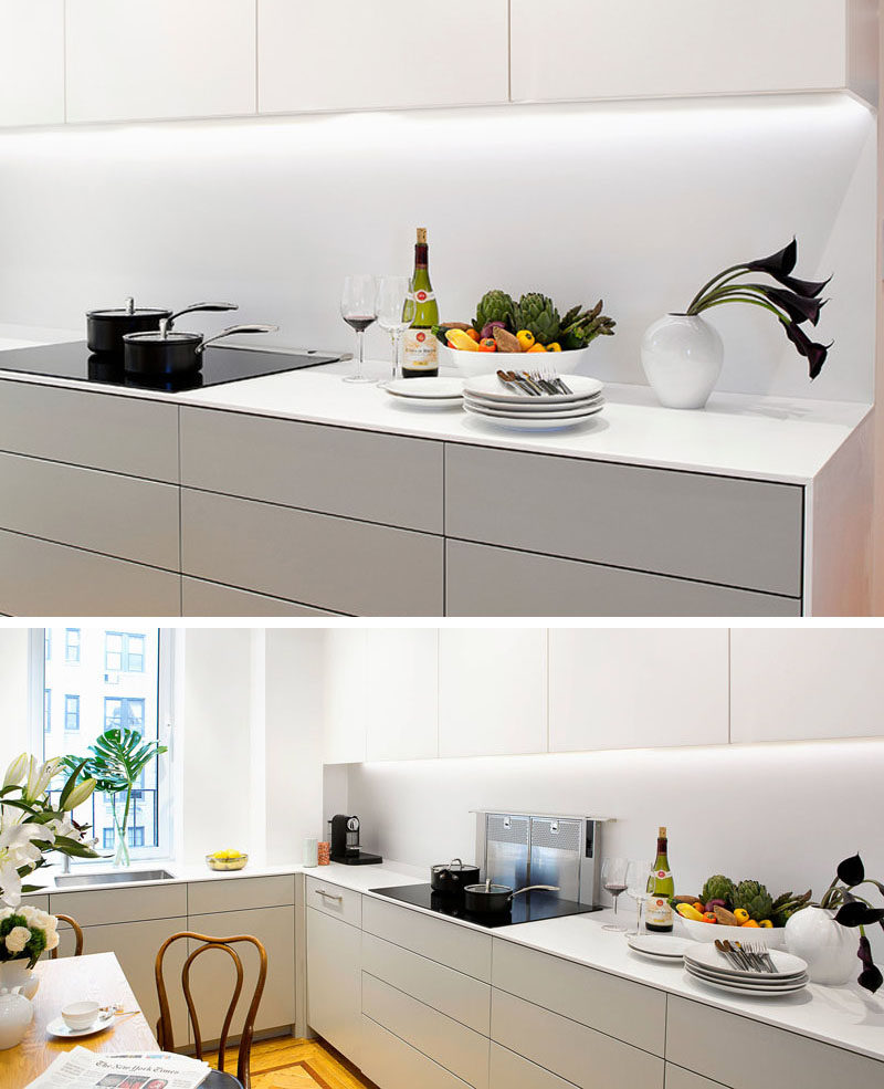 Kitchen Design Idea - Hide The Range Hood // This small fan comes out only when needed and stays tucked in the counter the majority of the time.