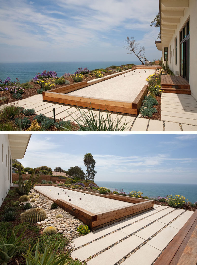 Landscaping Ideas - Liven Up Your Backyard With Some Games // The backyard of this Californian home has a built-in bocce court that overlooks the ocean.
