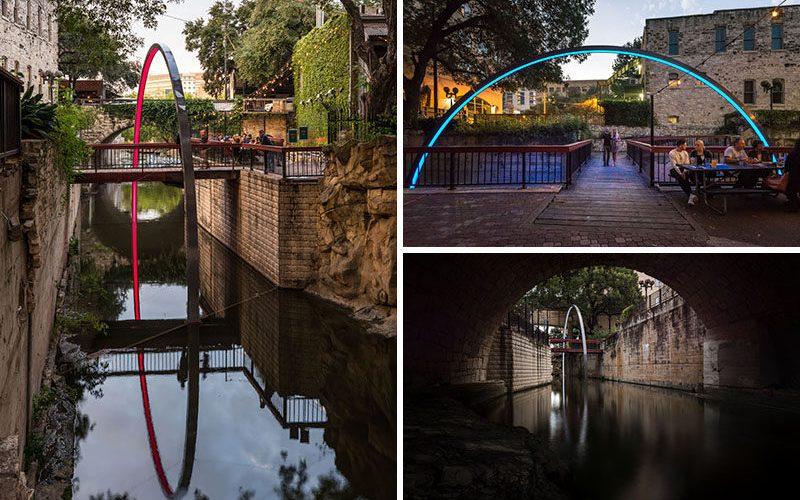 Эта иллюминированная Триумфальная арка поднимается из воды и окружает пешеходный мост в Остине, штат Техас