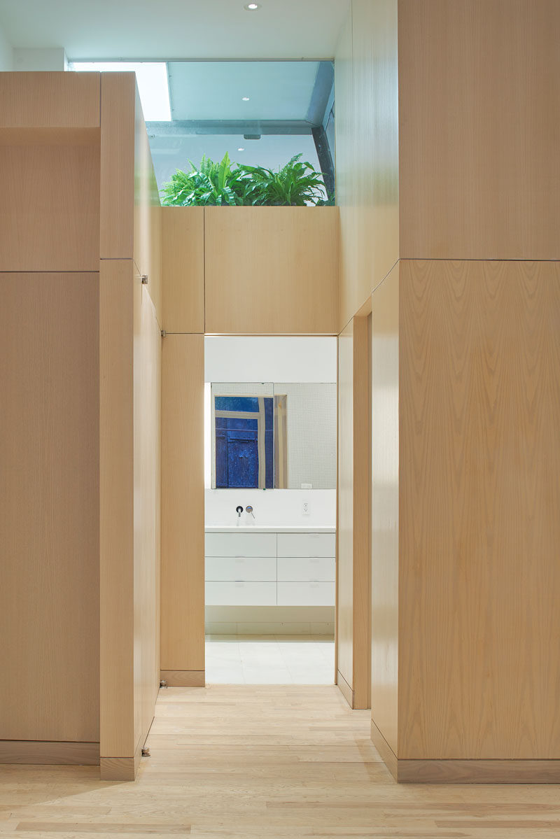 Plants grow above this bathroom in a New York apartment.