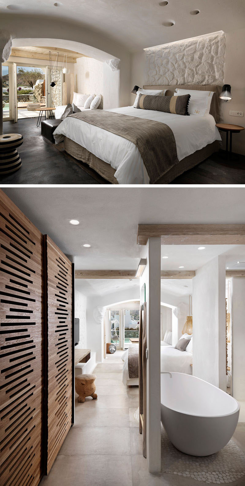 This contemporary hotel room has natural stone and aged wood featured throughout.