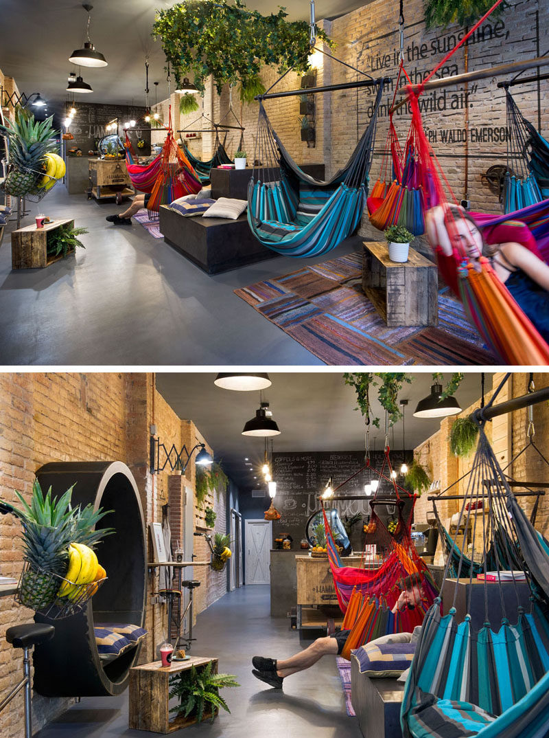 Bright colors in the rugs and hammocks, as well as the hanging plants, liven up this juice bar. While the hammocks can swing around to chat to your hammock neighbor.