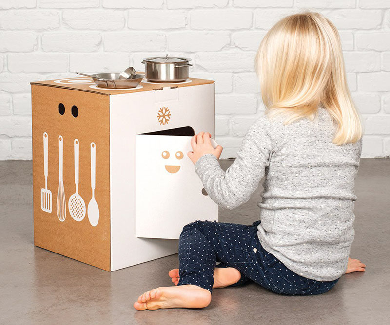 Gift Guide - 30+ Gift Ideas For The Modern Kid In Your Life // A small cardboard kitchen set like this one gives kids an opportunity to be just like the adults.
