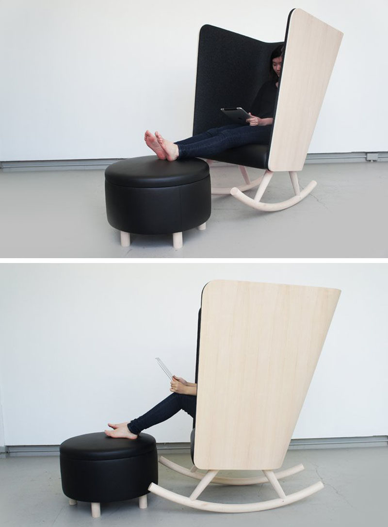 Furniture Ideas - 14 Awesome Modern Rocking Chair Designs // The super high sides and back of this rocking chair and the felt around it create a temporary escape from the rest of the world.