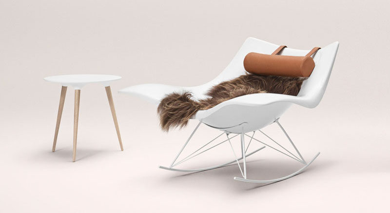 Furniture Ideas - 14 Awesome Modern Rocking Chair Designs // The polypropylene body of this rocking chair can warmed up by a soft lambskin and comfortable neck pillow.