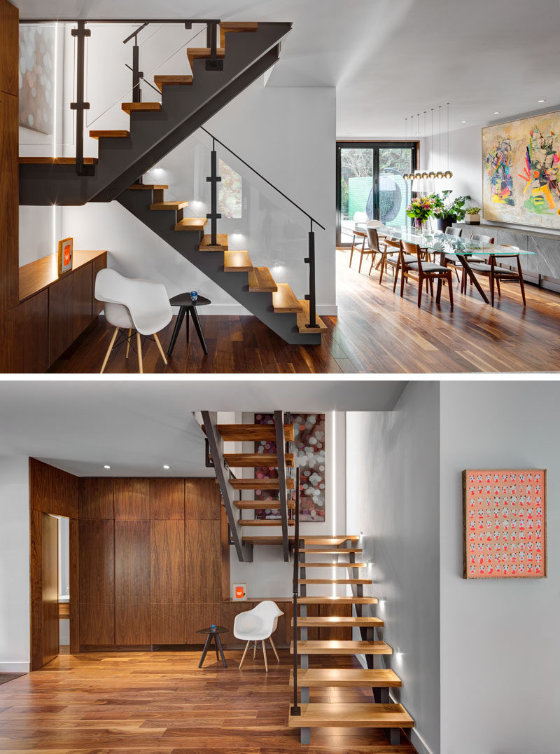 Wood and steel stairs have been installed in this renovated home for a more modern look.