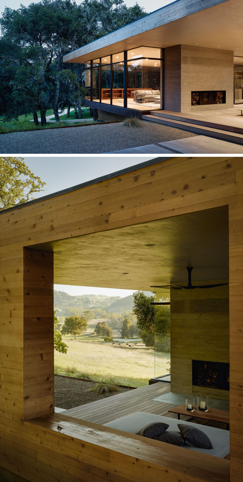 This outdoor fireplace has a concrete surround and space for firewood storage.