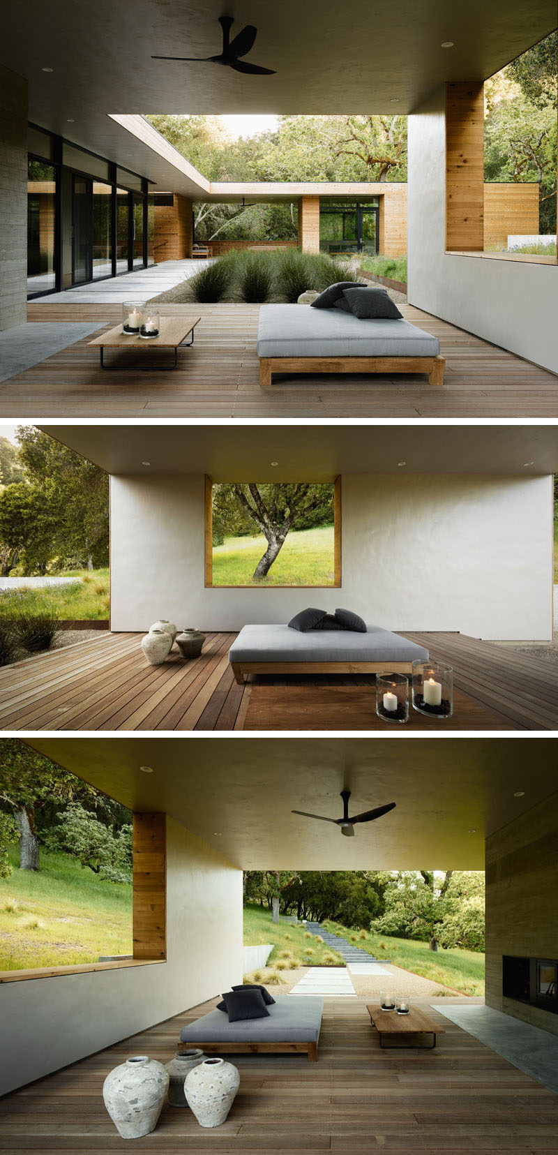 This home has a covered outdoor living room with a day bed and fireplace. A cut-out in the wall perfectly frames a single tree.