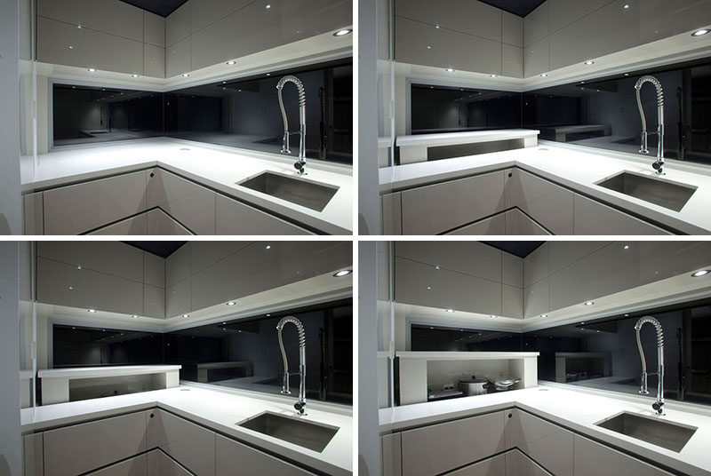 Kitchen Design Idea - Store Your Kitchen Appliances In A Dedicated Appliance Garage // This rising appliance garage features a built-in outlet that allows appliances to be stored and easily have access to power.