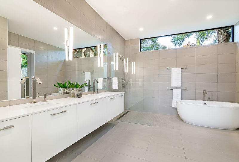 In this bathroom the colors have been kept neutral, adding to the light and airy feeling of the home.