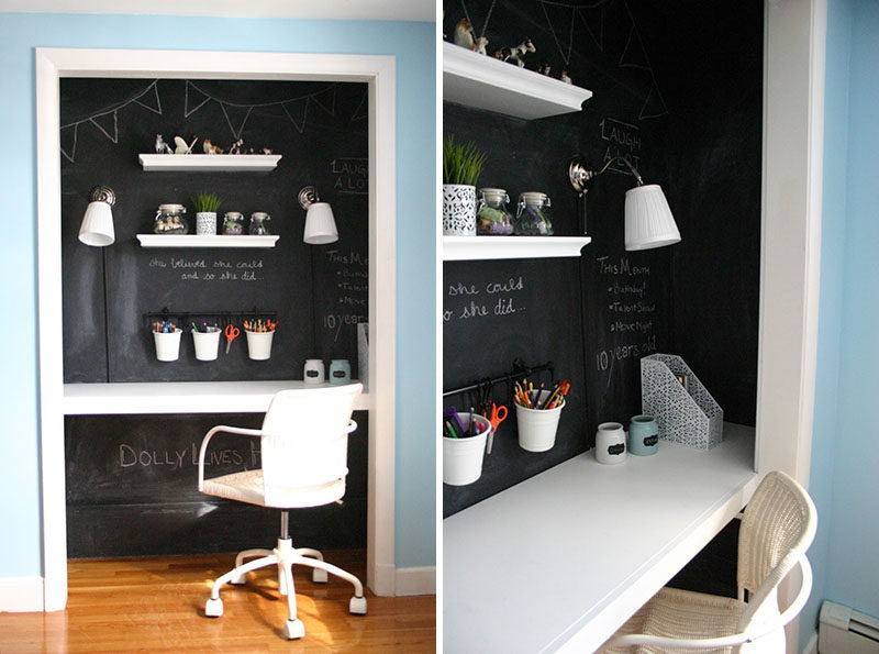 Small Apartment Design Ideas - Create A Home Office In A Closet // The doors have been taken off the hinges and the interior has been painted with chalkboard paint to create a cozy space perfect for doing homework, crafts, or work.
