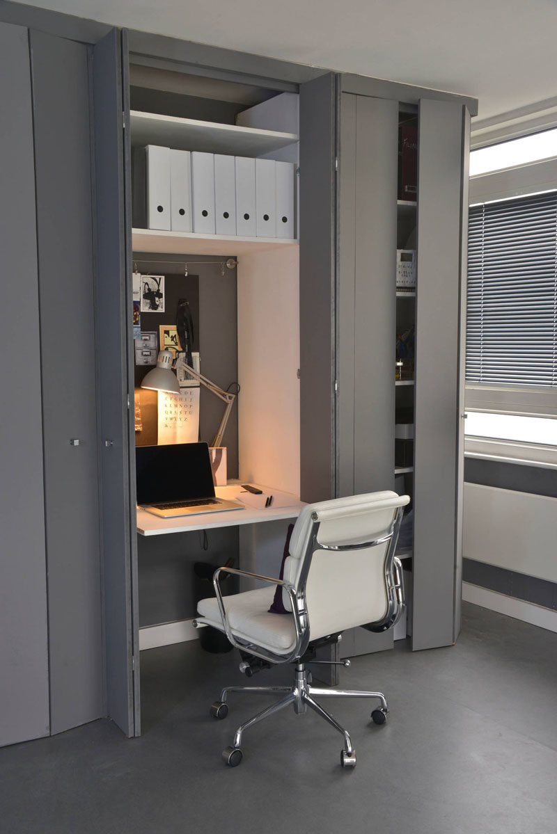 Small Apartment Design Ideas - Create A Home Office In A Closet // This small closet is just the right size for a well organized office space, and if it gets a little less organized the doors can still close to conceal it.