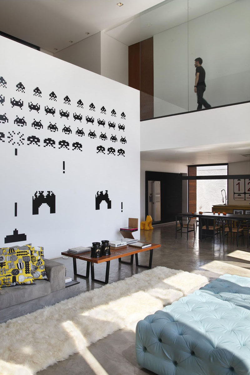 This home has a Space Invaders mural as a painted feature wall.