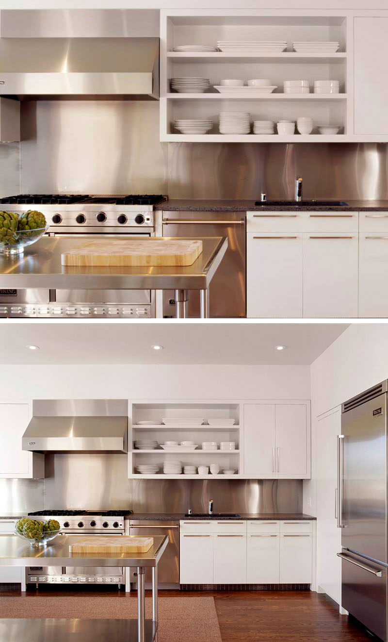 Kitchen Design Idea - Stainless Steel Backsplash // This kitchen's stainless steel backsplash matches the appliances and island to keep the kitchen looking unified.