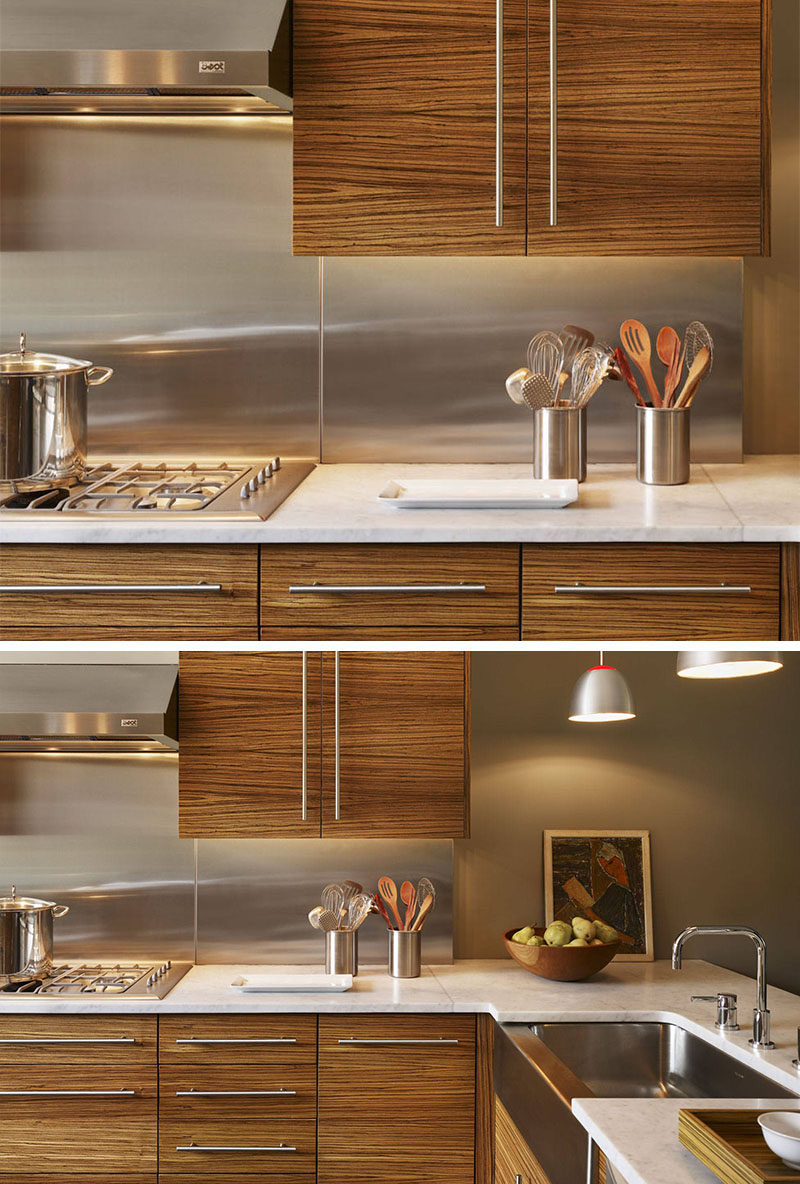Kitchen Design Idea - Stainless Steel Backsplash // All of the stainless steel details like the sink, hardware, and utensil holders, work with the stainless steel backsplash and make this kitchen cohesive and put together.