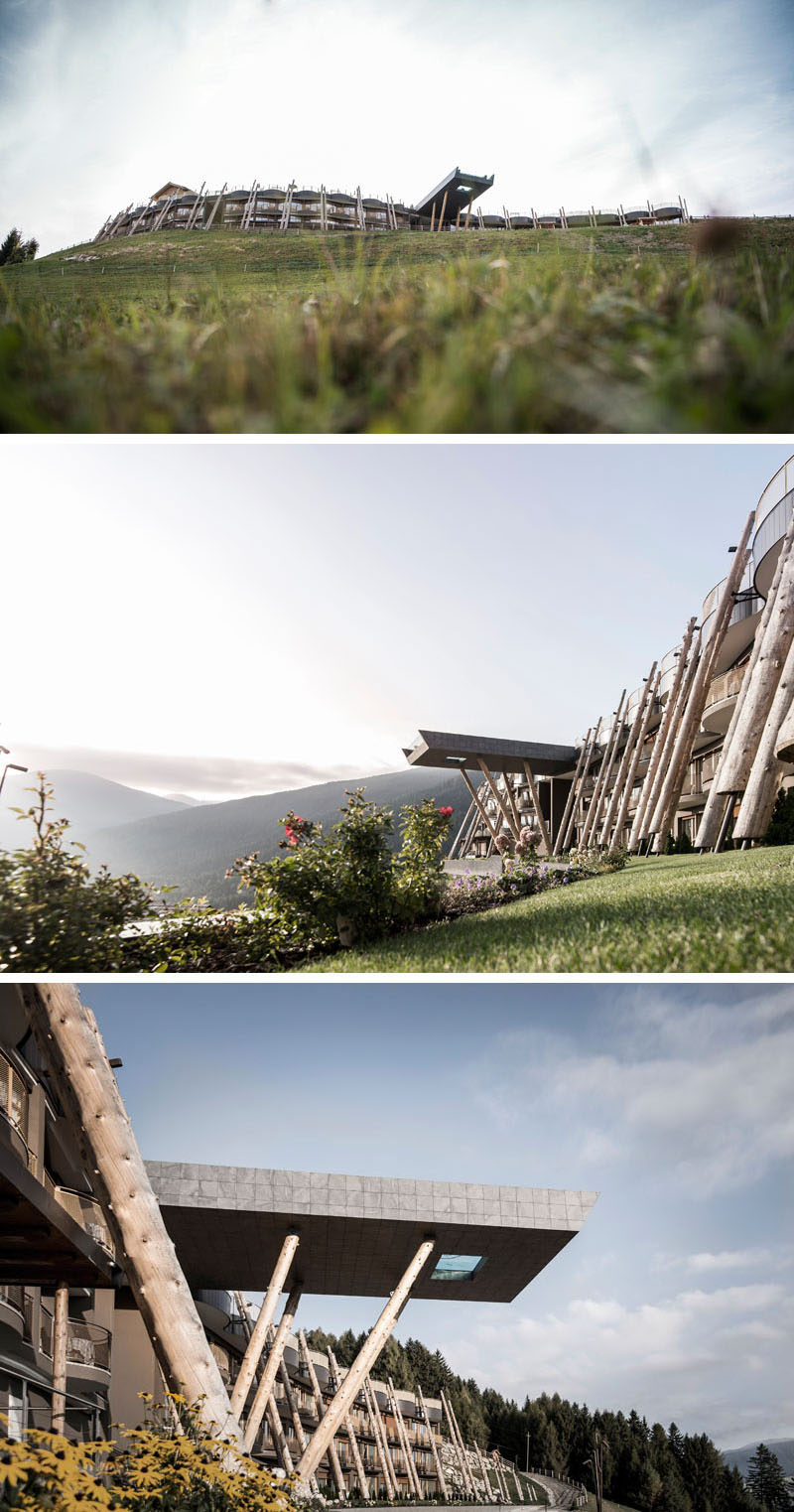 When noa* (network of architecture), were asked to re-design Hotel Hubertus that sits at the foot of a ski and hiking area in Valdaora, Italy, they included a new 82 foot (25m) swimming pool.