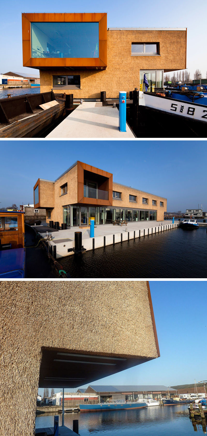 12 Examples Of Modern Houses And Buildings That Have A Thatched Roof // This floating office building for canal cleaners in Amsterdam is covered with both steel and trimmed thatch that protect it from the elements.