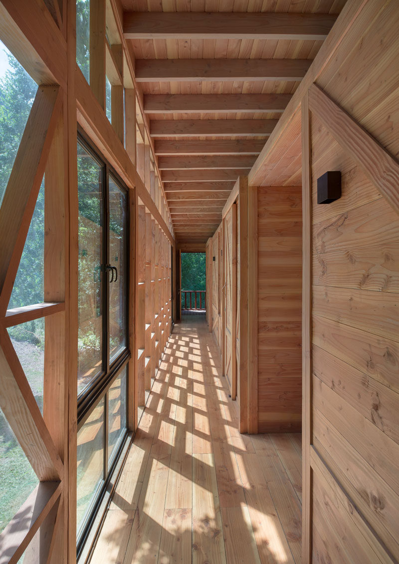 Timber construction gives this home a wood cabin feel.