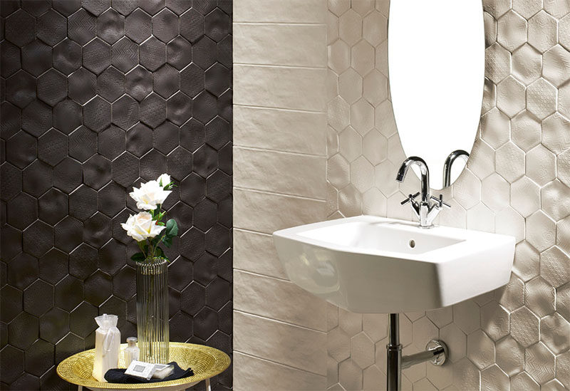Bathroom Tile Ideas - Install 3D Tiles To Add Texture To Your Bathroom // These tiles have different patterns imprinted on their uneven surfaces to create texture in two ways, and add a sophisticated contrast between black and white to the space.