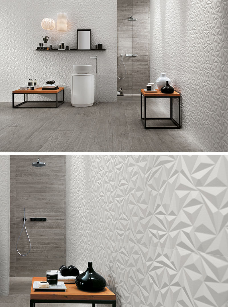 Bathroom Tile Ideas - Install 3D Tiles To Add Texture To Your Bathroom // The geometric shapes in these 3D wall tiles create a modern and energizing feel in the bathroom, while the white color and the use of other natural materials makes the space calming and relaxing.