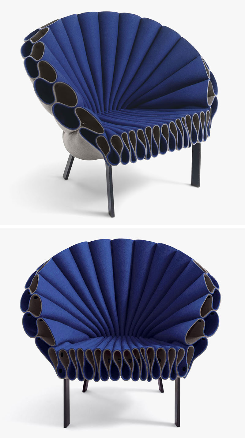 Furniture Ideas - 28 Accent Chairs For A Dramatic Living Room // Pieces of felt have been arranged on a minimal metal frame to create a chair that resembles peacock feathers but doesn't require any upholstery or sewing.