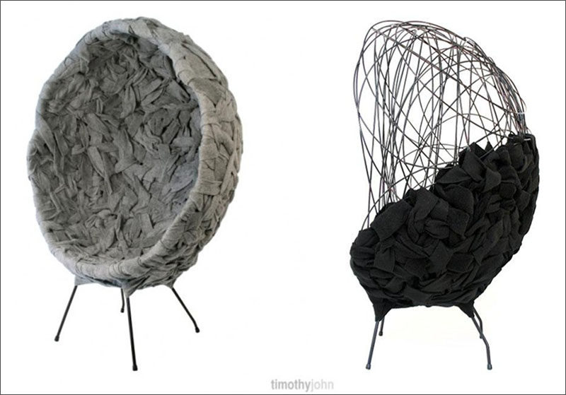 Furniture Ideas - 28 Accent Chairs For A Dramatic Living Room // Strips of felt have been twisted and woven through the metal frame to create a unique looking, functional chair.